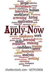Apply Now, word cloud concept on white background.
