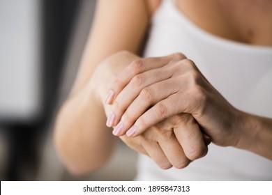 Applying Cream On Healthy Dry Skin Hand