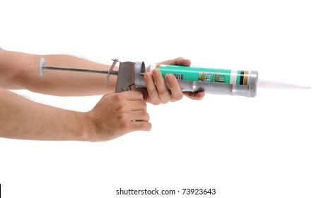 Applying silicone with caulking gun isolated on white background - a series of MANUAL WORKER images.