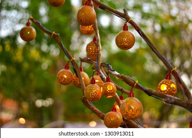 Applying Strychnos nux-blanda round-shaped forest fruits to be used to make decorative lamps in festivals And the Buddhist Lent Festival according to the belief of Buddhism in the northeast Thailand