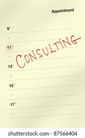Appointment book with consulting text