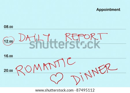 appointment book daily report romantic dinner stock photo edit now