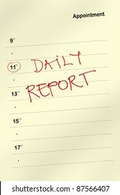 Appointment book with daily report text