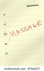 Appointment book with massage text