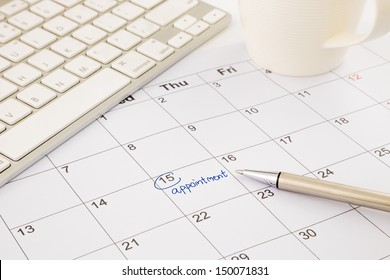 appointment notice on schedule, calendar and timetable management
