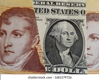approach to american one dollar bill and Argentine banknotes