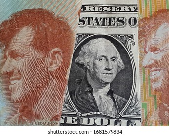approach to american one dollar bill and New Zealand banknotes