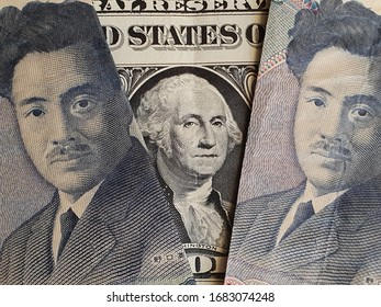 approach to american one dollar bill and japanese banknotes