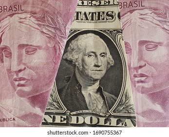 approach to american one dollar bill and Brazilian banknotes