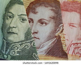 approach to argentine banknotes of different denominations, background and texture
