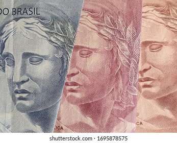 approach to brazilian banknotes of different denominations, background and texture