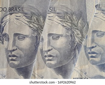 approach to brazilian banknotes of two reais, background and texture