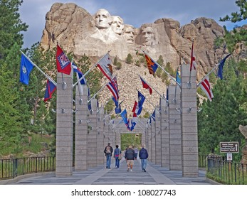 Approach concourse to to the Mt. Rushmore National Memorial, Keystone, South Dakota showing the flags of the States