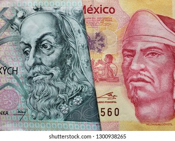 approach to czech banknote of 100 korun and mexican banknote of 100 pesos