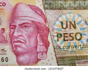 approach to mexican banknote of 100 pesos and cuban banknote of one peso convertible