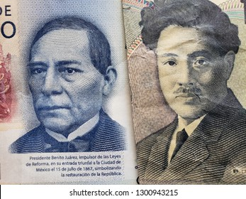 approach to mexican banknote of 500 pesos and japanese banknote of 1000 yen
