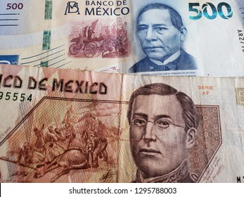 approach to mexican banknotes of 500 pesos, background and texture
