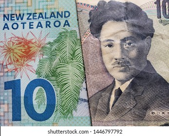 approach to New Zealand banknote of ten dollars and Japanese banknote of 1000 yen
