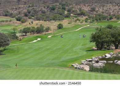 Approach shot to the final hole at Lost City in South Africa