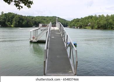Approaching the dock bridge at the lake