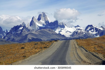 Approaching the Fitz Roy Massif in Patagonia, Argentina