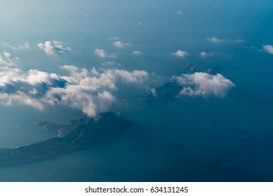 Approaching Hong Kong by Plane - Islets in the South China Sea