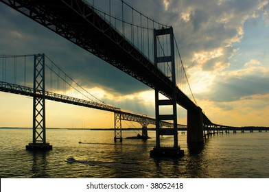 Approaching Maryland's Chesapeake Bay Bridges at sunset