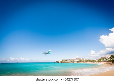 Approaching plane at SXM airport in St Martin