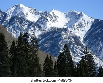 Approaching the snow capped peaks in the Rocky Mountains of Colorado