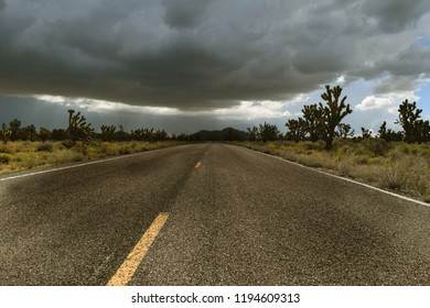 An approaching storm in the Mojave Desert, California
