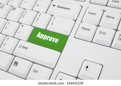 Approve concept, approve button on keyboard
