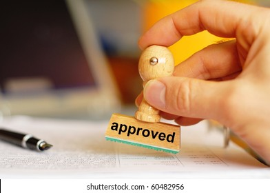 approved concept with stamp in office and copyspace
