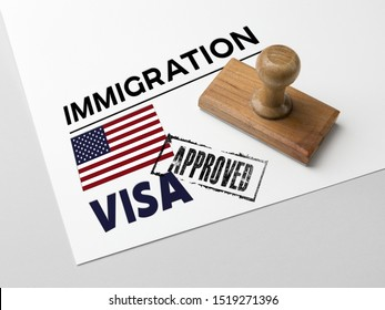 Approved Immigration United States  with rubber stamp and american flag
