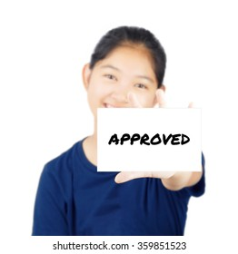 Approved message on white card concept with young woman smile