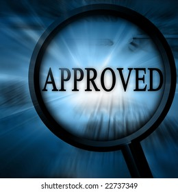 approved on a blue background with a magnifier