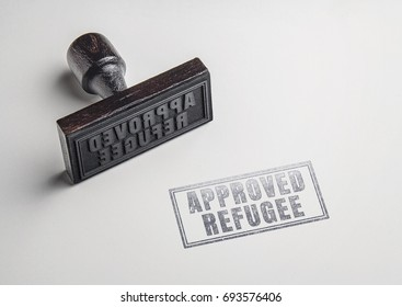 approved refugee text on paper from rubber stamp