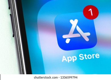 AppStore icon app on the screen iPhone. App Store is a digital distribution service for mobile apps on iOS platform, developed by Apple Inc. Moscow, Russia - March 12, 2019
