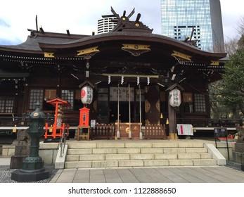 Apr 1, 2016, Tokyo, Japan : Shinjuku Juniso Kumano Jinja temple in Shinjuku Chuo Park, Tokyo Japan