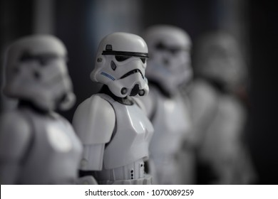 APR 15 2018:  Selective Focus on row of Star Wars Imperial Stormtroopers standing at attention aboard the Death Star - Hasbro Black Series 6 inch action figures