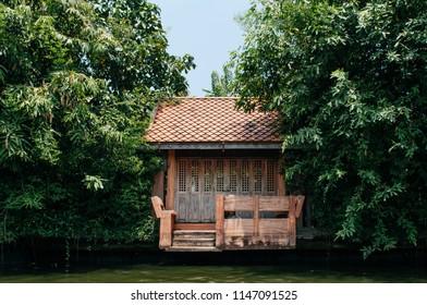 APR 20, 2013 Bangkok, Thailand - Thai old wooden houses gate along Bangkok Yai canal or Klong Bang Luang