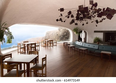 APR 20 2015 Spain Canary Islands Lanzarote El Mirador del Rio Landscape. This is the interior of the mirador del rio with its panoramic window view. Made by Cesar Manrique, an artist from Lanzarote.