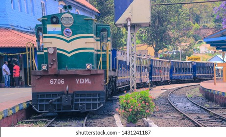 APR 2019, OOTY, TAMIL NADU, INDIA: The beautiful nilagiri mountain toy train for udagamandalam standing at station.