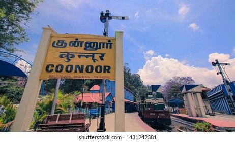 APR 2019, OOTY, TAMIL NADU, INDIA: The wide angle view of nilagiri mountain toy train for udagamandalam standing at coonoor station.