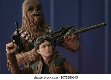 APR 22 2018:  Portrait of prequel era Han Solo and his Wookiee sidekick Chewbacca from the movie Solo: A Star Wars Story - Hasbro Black Series 6 inch action figures