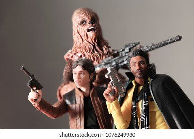 APR 23 2018: Han Solo, Lando Calrissian, and Chewbacca - From the Han Solo A Star Wars Story film. Hasbro Black Series action figures