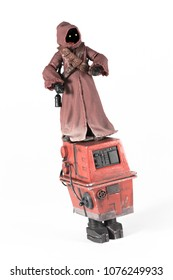 APR 23 2018: Jawa standing on top of a GNK Gonk power droid - Hasbro Black Series action figures