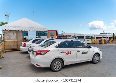 Apr 23,2018 Bohol island, Philippines: Taxis waiting for passengers at the ferry terminal