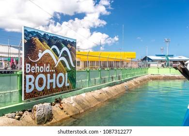 Apr 23,2018 Bohol island, Philippines :Bohol sign board at ferry passenger terminal