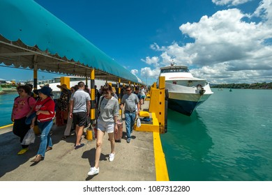 Apr 23,2018 Bohol island, Philippines: Tourists from the ferry