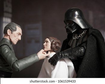 APR 3 2018: Recreation of a scene from Star Wars Episode IV A New Hope aboard the Death Star with Grand Moff Tarkin, Princess Leia and Darth Vader using Hasbro Black Series action figures